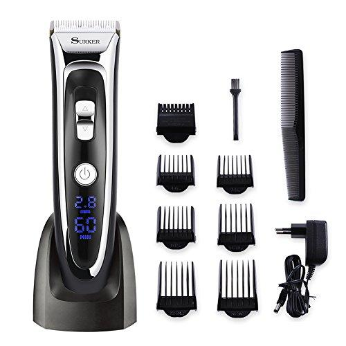 Surker Model RFC-688BA Electric Foil Hair Trimmer for Men with Clean & Charge Station, Electric Men's Women's Hair Clippers Cutter Clippers Shavers, Cordless Shaving System