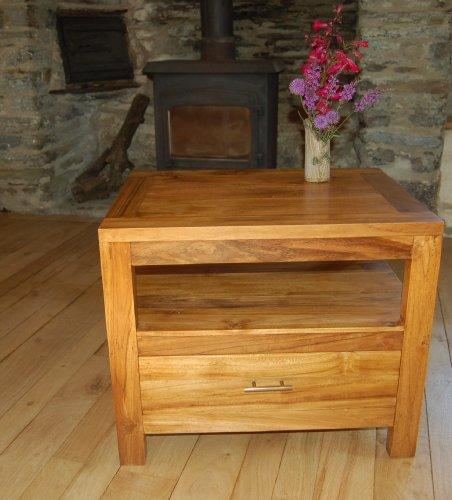 Sustainable teak hardwood tv table/hi fi cabinet - one drawer with open shelf