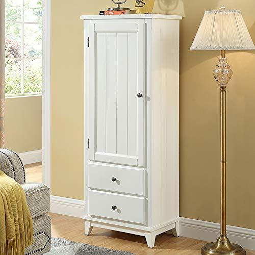 SW Shiny Way Poplar Solid Wood Storage Floor Cupboard Cabinet Wardrobe Closet for Bathroom Kitchen with Doors / 2 Drawers / 2 Shelves (White)