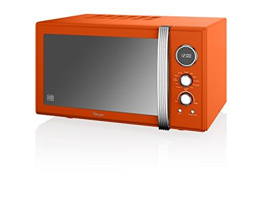Swan Retro SM22080ON Digital Combination Microwave with Convection Oven and Grill, 25 Litre, 900W, Orange