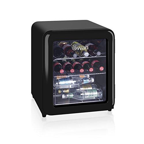 Swan SR16210BN 50s Styling Retro Table Top Glass Fronted Fridge- Drinks, Vino, Wine Cooler, 85W, 46L, Black