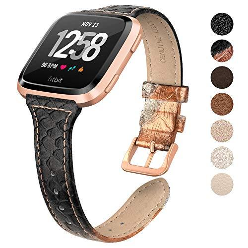 Swees for Fitbit Versa Bands For Women Leather Small, Slim Genuine Leather Band with Stainless Steel Buckle Strap Replacement Wristband for Fitbit Versa Smartwatch, Rose Gold, Champagne, Black, Brown