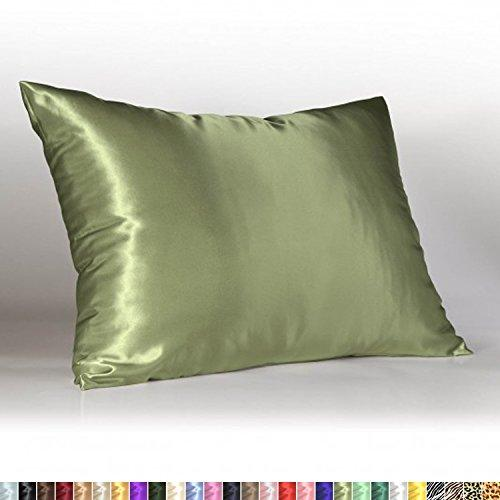 Sweet Dreams Luxury Satin Pillowcase with Zipper, Standard Size, Sage (Silky Satin Pillow Case for Hair) By Shop Bedding