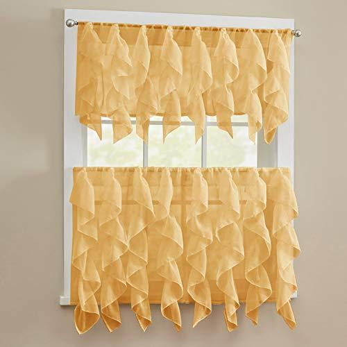 "Sweet Home Collection 3 Piece Kitchen Curtain Set Sheet Vertical Cascading Waterfall Ruffle Includes Valance and Choice of 24"" or 36"" Teir Pair, Sheer Camel Tier"