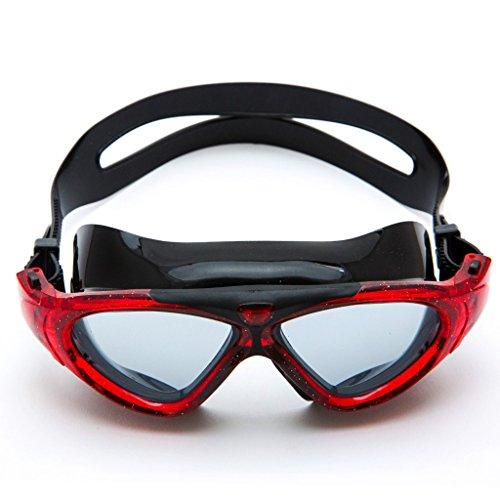 Swimming goggles LCSHAN men's universal HD waterproof anti-fog transparent adult swim goggles (Color : RED)