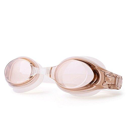 Swimming goggles LCSHAN Professional goggles HD Anti-fog Adult Waterproof swim Male Ms Silicone Large frame (Color : BROWN)