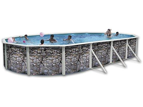 Swimming Pool Kit with NEVADA Steel Oval Stone 6.4 x 3.7 x ...