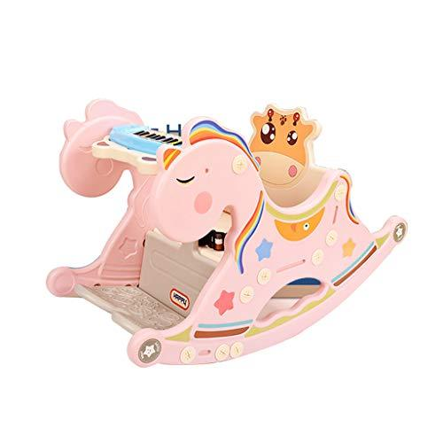 Swings & Chair Bouncers Rocking chair baby game rocking chair child seat wooden horse toy plastic rocking horse piano toy 1-2 year old gift (Color : Pink, Size : 51 * 72 * 39CM)