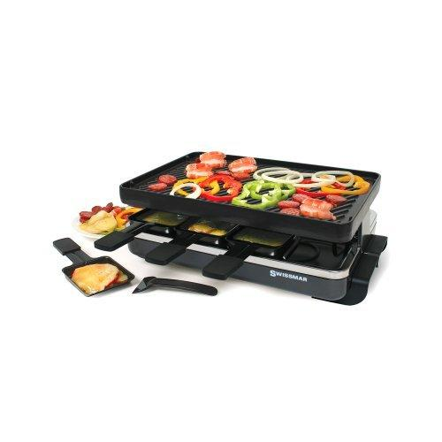Swissmar 8-Person Classic Raclette with Reversible Cast Iron Grill Plate, Black by Swissmar