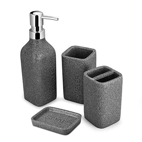 Syndecho 4pcs Bathroom Accessory Set, Resin Bath Accessories Bath Set Soap Dish, Soap Dispenser,Toothbrush Holder & Tumbler Bath Ensemble Bathroom Accessory Collection Set,Grey (Grey with Letter)