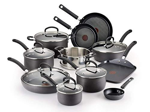 T-fal E918SH Ultimate Hard Anodized Durable Nonstick Expert Interior Thermo-Spot Heat Indicator Anti-Warp Base Dishwasher Safe PFOA Free Oven Safe Cookware Set, 17-Piece, Gray