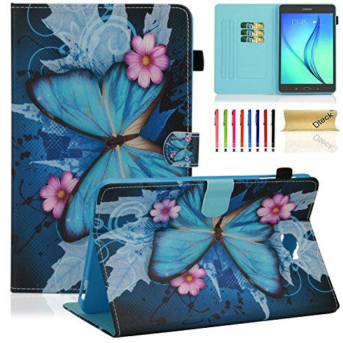 T585/T580 Case, Dteck(TM) Samsung Galaxy Tab A 10.1 Tablet Case Stand Folio Smart Case with Auto Sleep/Wake Function [Pen Holder] for Tab A 10.1 Inch NO S Pen Version Tablet, Pink Flower&Butterfly