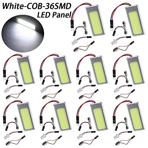 TABEN 10pcs Super White Energy-saving COB 36-SMD LED Panel Dome Light Auto Car Interior Reading Plate Light Roof Ceiling Interior Wired Lamp With T10/BA9S/Festoon Adapters