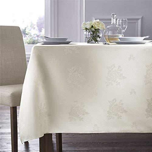"Table Cloth & Napkins WOVEN DAMASK ROSE CREAM RECTANGLE TABLECLOTH 54"" X 90"" (137CM X 229CM) & 4 NAPKINS"