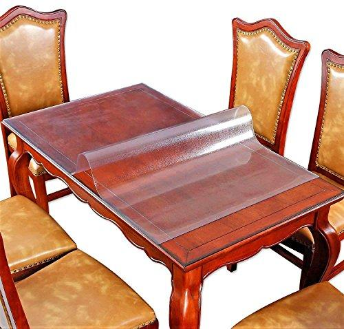 "Table Protector Frosted Vinyl Plastic Tablecloth Square Wood Furniture Stain Protector Water Resistant Wipeable Cover Glass Top Coffee End Dining Table Protection Pad Polyester Mat Eco PVC 36"" x 36"""