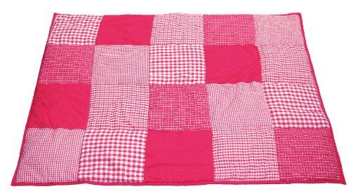 Taftan 100% Cotton Patchwork Checks Playpen Mat 100 x 80cm (Dark Pink)