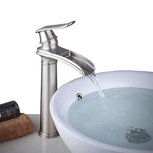 Tall Waterfall Counter Top Basin Mixer Tap Curved Bathroom Sink Faucet Brushed Nickel