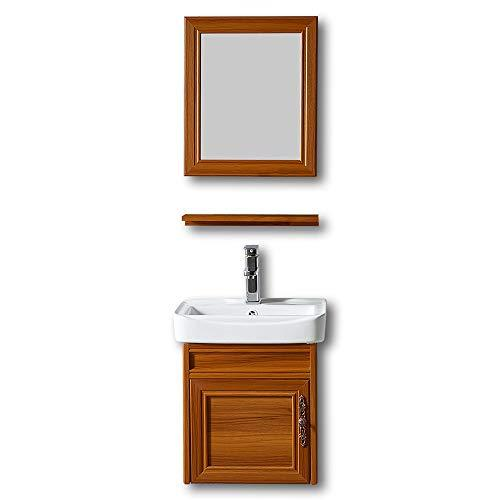 Tamyoo Aluminum Bathroom Vanity Cabinet, Top Porcelain Ceramic Vessel Sink Basin ,Shelf and Mirror Vanities Combo, Bathroom Sink Vanity Mirror Set (Brown)