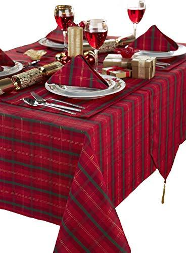 Tartan Red/Gold Christmas Rectangular Tablecloth And 8 Napkin's Package Ideal For 6-8 Place Settings (Tablecloth 70x90in-Napkins 17x17in) Sizes Are Approximate