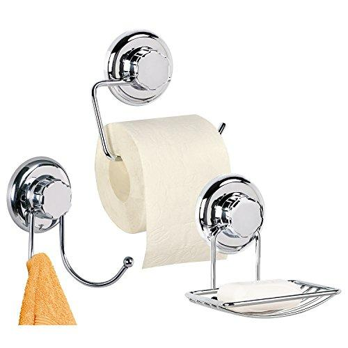 Tatkraft Megalock Trio Set of Bathroom Accessories, with Toilet Roll Holder/Soap Dish/Double Towel Hook made of Chrome-Plated Steel with Suction Cups