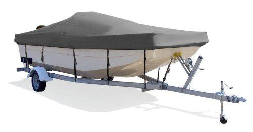 "TaylorMade Products Trailerite Semi-Custom Boat Cover for Center Console Bay Style Boat with Outboard Motor (19'6"" to 20'5"" Center Line Length / 96"" Beam, Gray Coated Poly)"