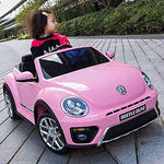 TBFEI Beetle Authorized Children Electric Car Four-wheel Remote Control Toy Car Can Sit Baby Child Car Battery Car Charging Sports Car - Slow Start + Shock Absorber +Head Lights,Music (Color : Pink)