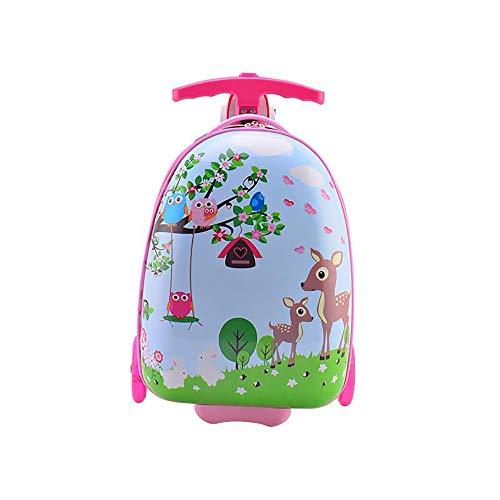 TBY Luggage, Scooter suitcase, Kid's student Luggage Trolley case Schoolbag 16 Inch PU flash tire,Pink