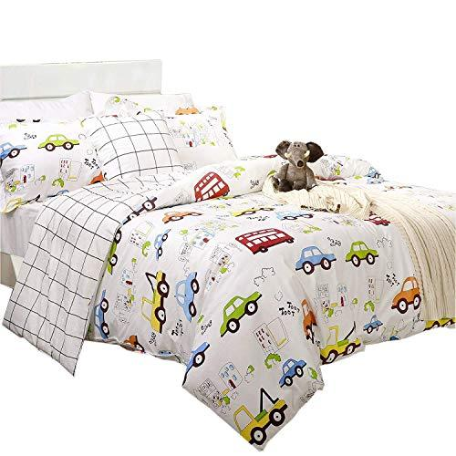 TEALP Boys Bedding Trucks Soft Hypoallergenic Kids Duvet Cover Set King Size Pack of 3 (No Comforter Included)