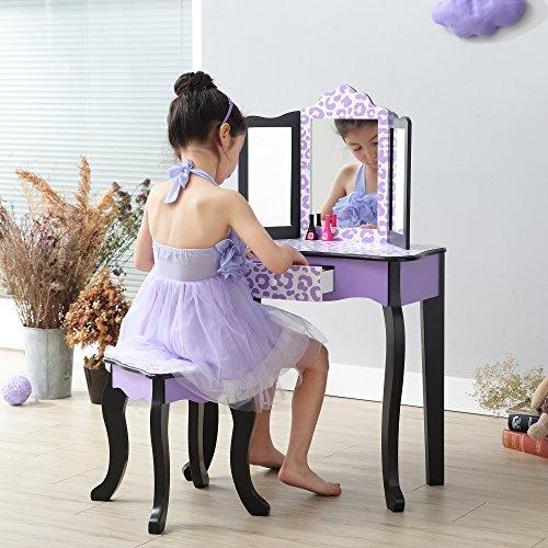 Teamson Kids Fashion Prints Vanity Table and Stool Set, Purple/Black, Leopard