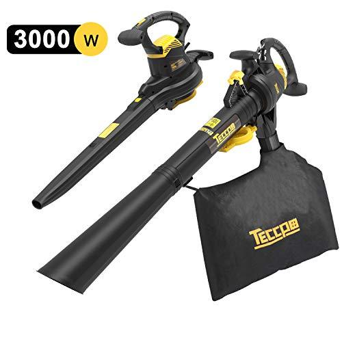 TECCPO Leaf Blower, 3000W Garden Vacuum & Mulcher 3-in-1, Two Speed Switch, Variable Blow Speed of 210/350km/h, Collection Bag 40 litres, with Bag Strap - TABV01G