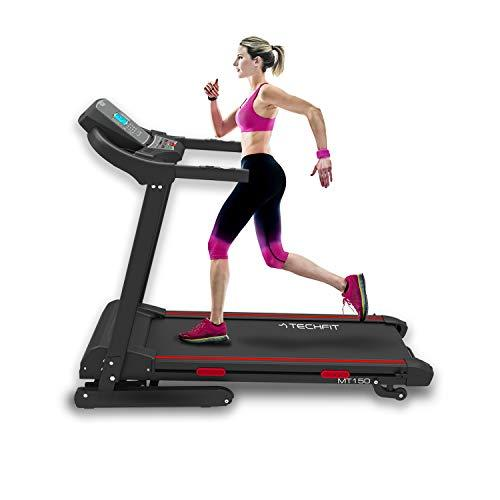TechFit MT150 Electric Motorised Treadmill, Hydraulic Folding System, 4.0 HP, 1200x420mm Running Surface, Tablet Holder, Bluetooth, MP3 player, USB