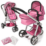 TecTake 3 in 1 Pushchair stroller combi stroller buggy baby jogger travel buggy kid's stroller -different colours- (Pink)