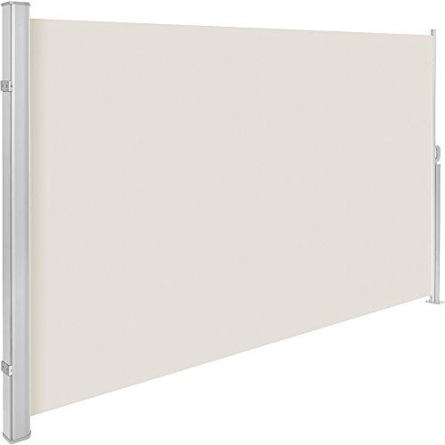 TecTake Garden side awning sunshade retractable Housing and support post entirely of aluminum - different colours and sizes - (Beige | 180x300cm | no. 401529)