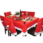 TEERFU 11Pcs Christmas Decorations Set,Xmas Home Decor set - 4 Pcs Snowman Silverware Holder Bags+4 Pcs Santa Hat Chair Covers+2 Pack Santa Claus Wine Bottle Cover Bag+1 Pack Christmas Tablecloth