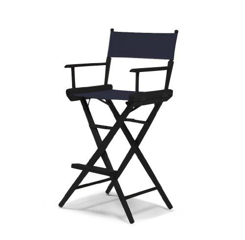 Telescope Casual 157313C01 World Famous Bar Height Director Chair and Wood Black Paint Frame - Navy Canvas