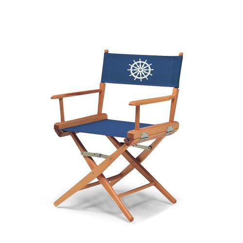 Telescope Casual World Famous Dining Height Director Chair, Varnish Finish with Marine Blue and White Motif Cover