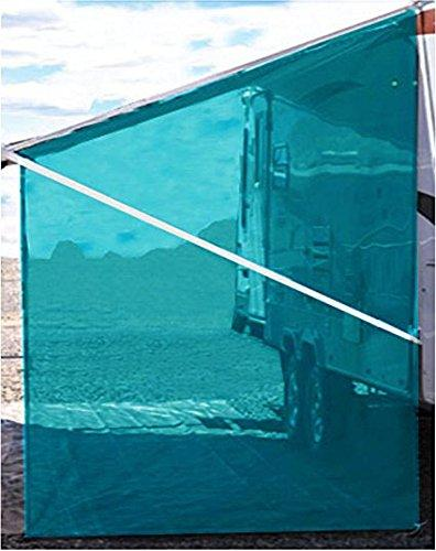 Tentproinc RV Awning Side Sun Shade Net Complete Kits Drop Motorhome Trailer Sun Blocker Screen Retractable Tarp Mesh Canopy Shelter - 3 years guarantee limited - 9' × 7' - Gift Blue
