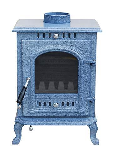 The Aspect Multi Fuel/Wood Burning Stove Asian Blue Enamel DEFRA Appoved 5 KW Cast Iron 5 Yr Wty