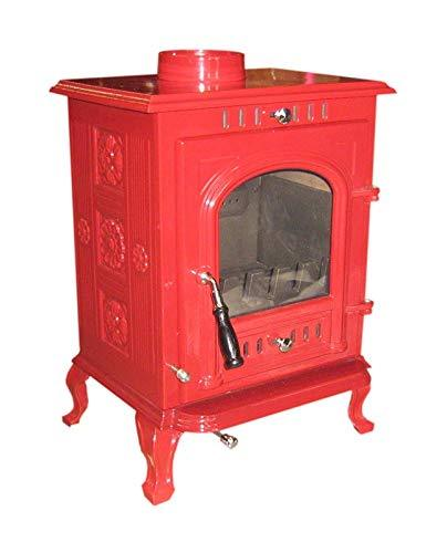 The Aspect Multi Fuel/Wood Burning Stove Burgundy Red Enamel DEFRA Appoved 5 KW Cast Iron 5 Yr Wty