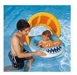 The BEST Inflatable Baby Float with Sun Shade Canopy! This Infant Swimming Pool Ring is GREAT for boys with its Fun Shark Themed Design. Doubles as a Water Boat Tube Seat Chair Lounger by Play Day by Play Day