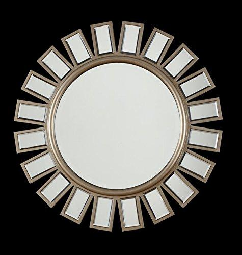 The Display Guys, 33 1/2 inch Large Round Sunburst Shape Wall Mount Mirror, Decorative , For Vanity, Bedroom, or Bathroom