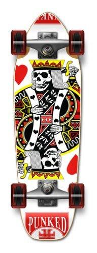"The Epic Sports Graphic Complete Longboard- Mini Cruiser- Banana Cruiser 27"" X 8"", King Of Hearts"