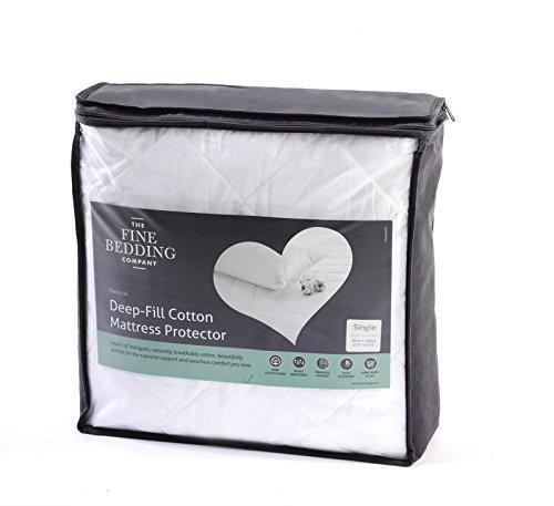 The Fine Bedding Company Deep Fill Cotton Mattress Protector - Double