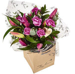 The Flower Rooms - Pink Rose and Lily Hand Tied Bouquet - Fresh Flowers Delivered - No Relay Service, Flowers Made & Delivered By Us