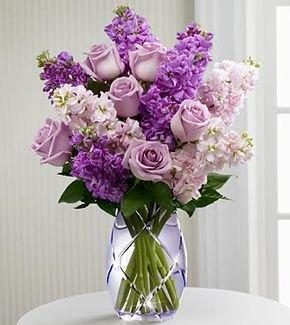 The Gift Box fresh Lilac Vintage Roses & Purple Scented Stock Bouquet - Perfect for any occasion - UK mainland delivery Only