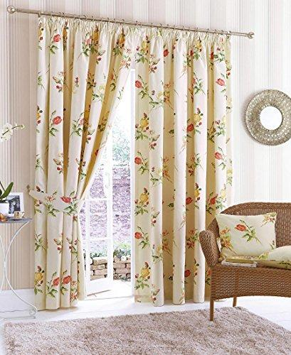 "The Textile House Summer Garden Lined Tape Top Floral Curtains (Pair) - 66"" x 90"" - Finished in Terracotta/Lemon - Free Tiebacks And Cushion Covers!"