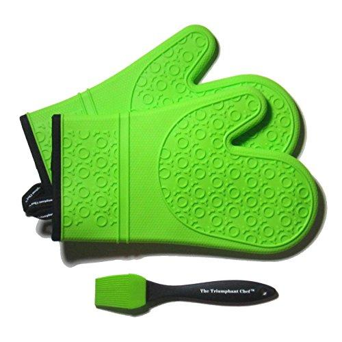 The Triumphant Chef Super Flex Silicone Oven Glove, Deluxe Quilted Liner, 1 Pair, Lime Green, Bonus Sauce Brush