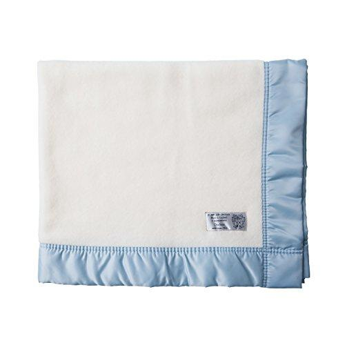 The Wool Company Satin Bound Merino Baby Blankets-Soft Blue-75 x 90 cm