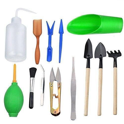 Thee-home 13 Pieces Mini Garden Hand Tools Transplanting Tools Succulent Tools Miniature Planting Gardening Tool Set for Indoor Miniature Fairy Garden Plant Care