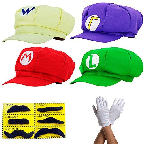 thematys Super Mario Hat Luigi Wario Waluigi - Costume Set for Adults & Kids + 4X Gloves and 6X Sticky Beard - Perfect for Carnival & Cosplay - Classic Cappy Cap